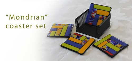 Mondrian style coasters with case