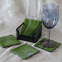 Green swirl coaster set alt